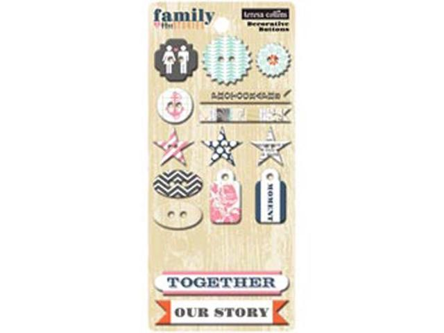 Family Stories Decorative Buttons & Chipboard 19 Pieces-