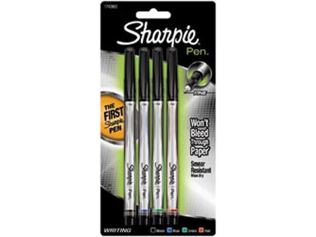 Sharpie Pens Fine Point 4/Pkg-Black/Blue/Red/Green