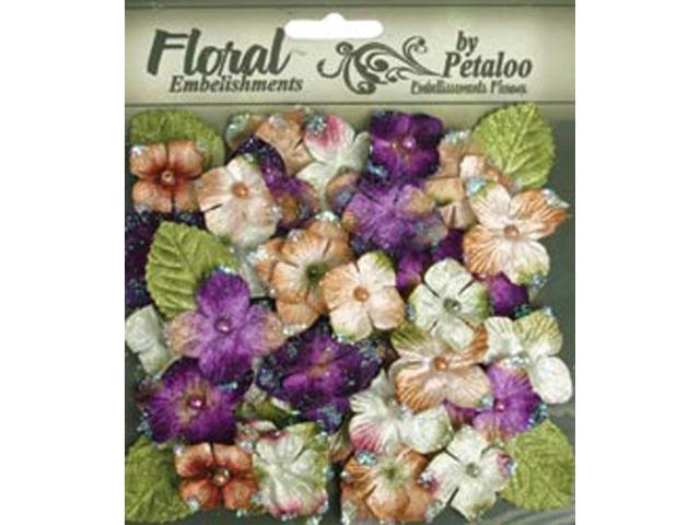 Floral Embellishments Velvet Hydrangeas With Glitter 36/Pkg-Violet