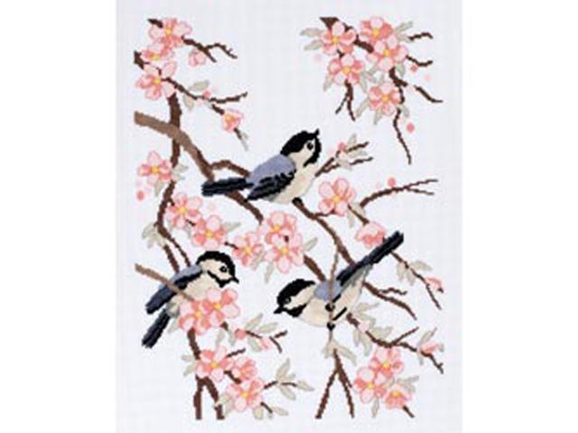 Chickadees And Apple Blossoms Counted Cross Stitch Kit-11-1/2
