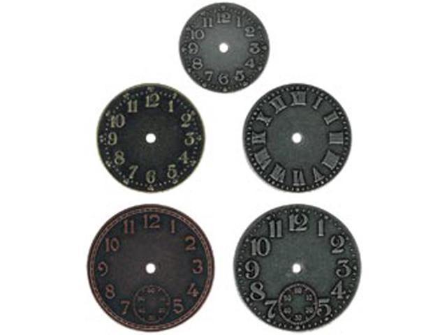 Idea-Ology Timepieces Clock Faces 5/Pkg-Nickel/Brass/Copper
