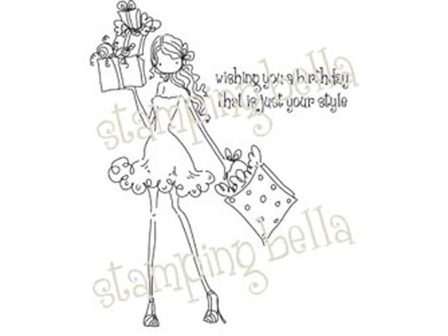 Stamping Bella Unmounted Rubber Stamp-Uptown Girl Posh Has A Present