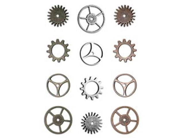 Idea-Ology Sprocket Gears-12/Pkg - 4ea Antique Nickel/Brass/Copper