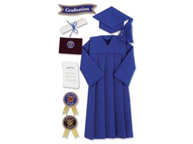 Jolee's Boutique Le Grande Dimensional Graduation Sticker-Graduation Cap & Gown/Blue