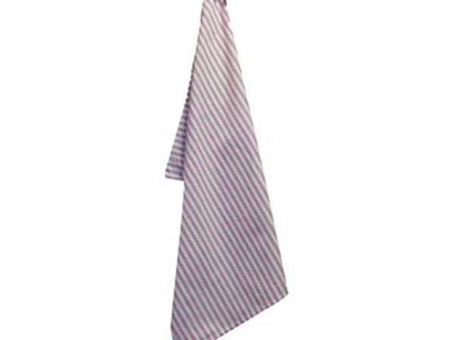 White Plain Weave Striped Towel -Red