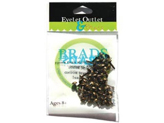 Eyelet Outlet 4mm Round Brads 70/Pkg-Brushed Brass