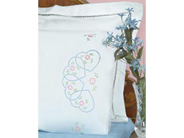 Stamped Pillowcases With White Lace Edge 2/Pkg-Starburst Of Hearts