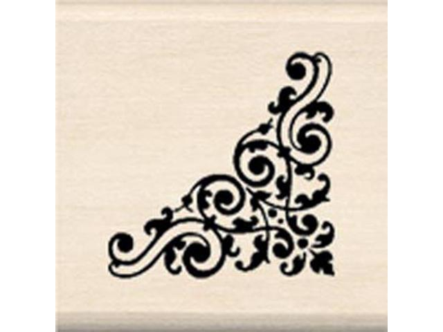 Inkadinkado Wood Mounted Rubber Stamp G-Swirl Corner