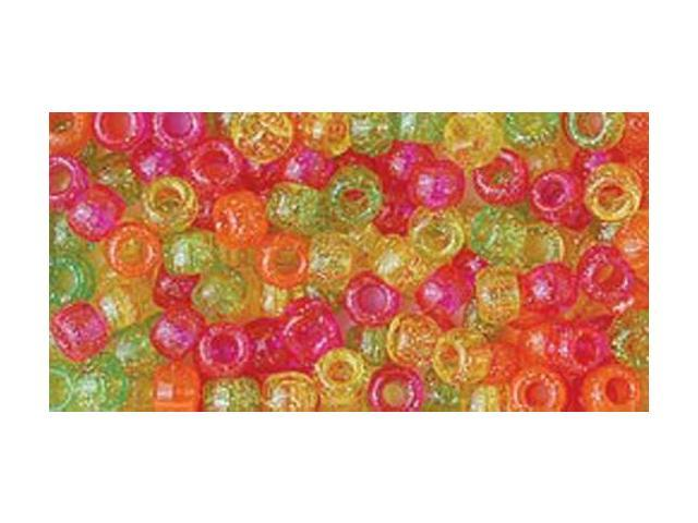 Pony Beads 6mmX9mm 415/Pkg-Warm Sparkle Multicolor