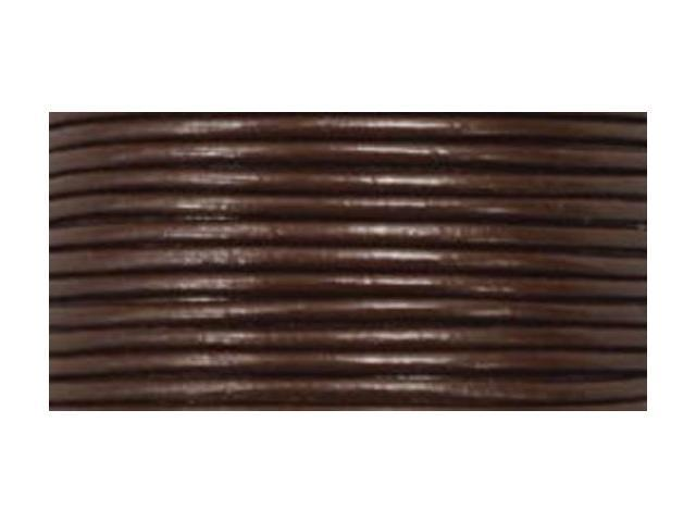 Round Leather Lace 1mmX25yd Spool-Brown