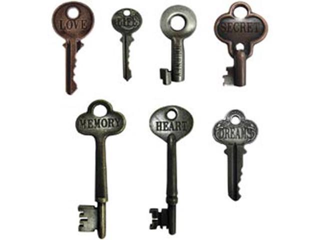 Idea-Ology Word Keys-7/Pkg - Antique Nickel/Brass/Copper