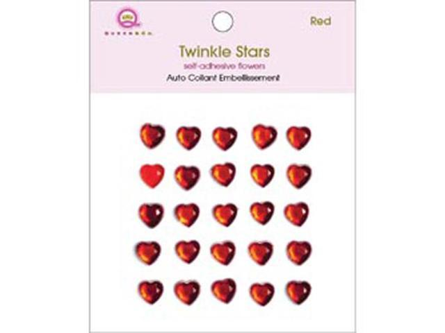 Twinkle Self-Adhesive 8mm Embellishments 25/Pkg-Hearts/Red