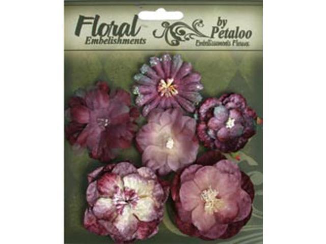 Floral Embellishments Mixed Blooms 6/Pkg-Lilac/Purple