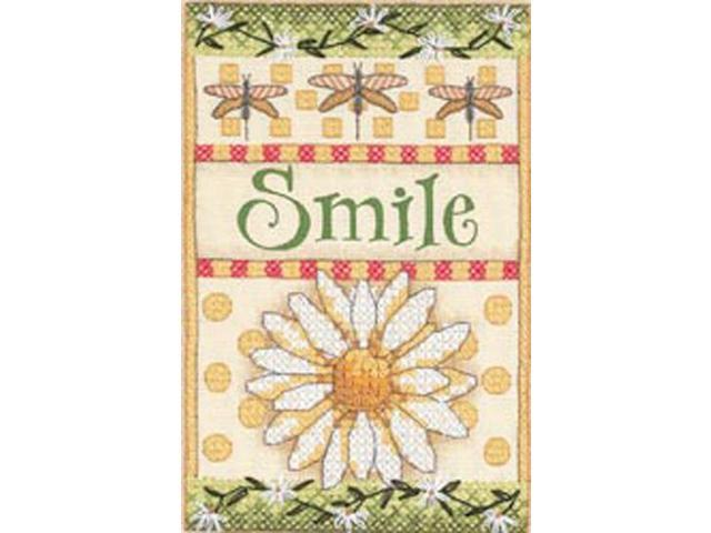 Smile Daisy Mini Stamped Cross Stitch Kit-5