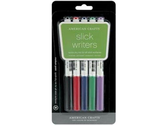 Slick Writer Markers 5/Pkg-Medium Point-Black/Blue/Red/Green/Purple