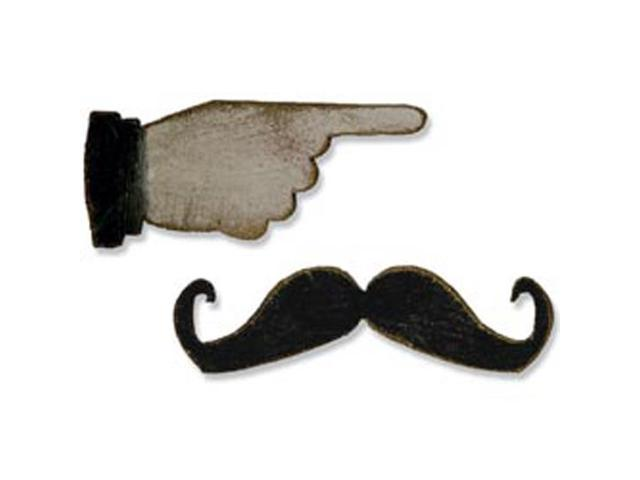 Sizzix Movers & Shapers Magnetic Dies By Tim Holtz 2/Pkg-Mini Mustache & Pointed Finger