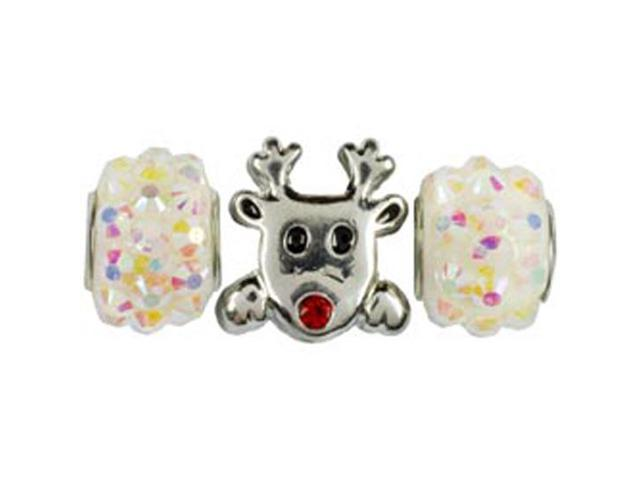 Tis The Season Large Hole Beads-White Reindeer 3/Pkg