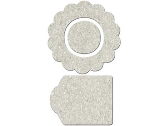 Die-Cut Grey Chipboard Embellishments-Flower Shape; Center & Tag 12/Pkg