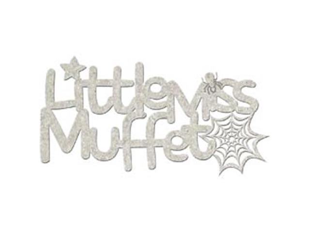 Die-Cut Grey Chipboard Word-Little Miss Muffet 5.75