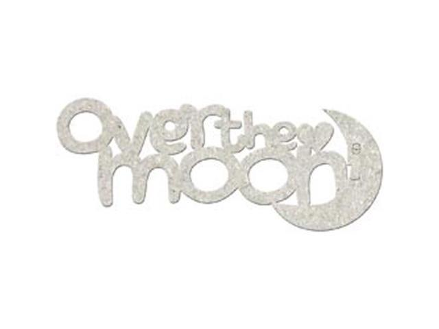 Die-Cut Grey Chipboard Word-Over The Moon 6.6x2