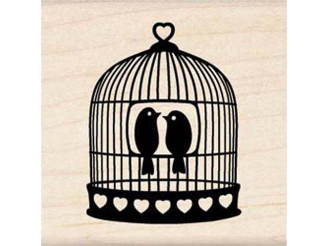 Inkadinkado Wood Mounted Rubber Stamp-Heart Bird Cage.