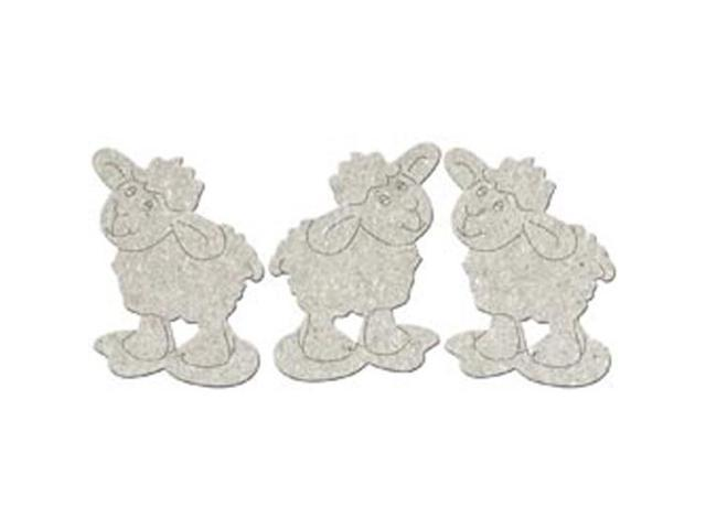 Die-Cut Grey Chipboard Embellishments-Little Sheep 3/Pkg; Up To 3.5