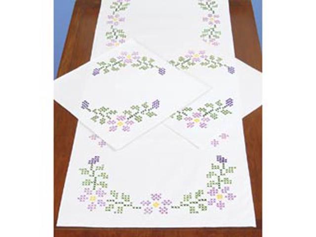 Stamped Dresser Scarf & Doilies Perle Edge 3/Pkg-Starflowers
