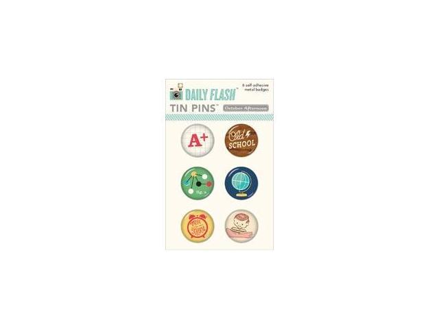 Daily Flash Milk Money Tin Pins Adhesive Metal Badges 6/Pkg-