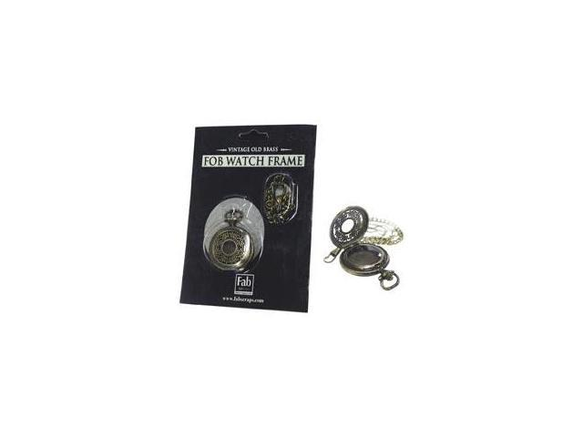 Old Brass No Mechanism FOB Watch W/Chain Embellishment-Medium