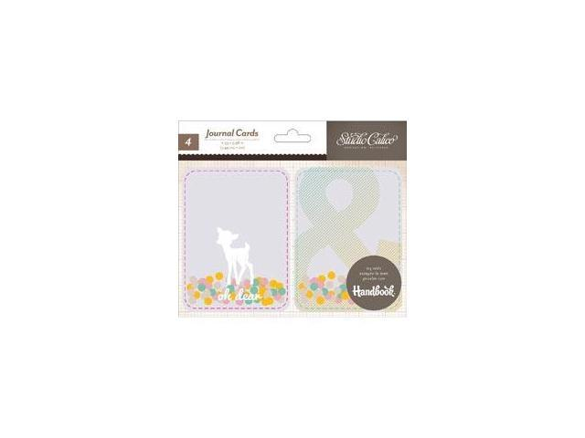 Printshop Stitched Plastic Pockets W/Journaling Cards 4/Pkg-