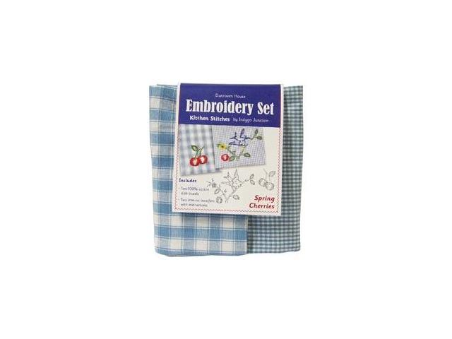Spring Cherries Kitchen Stitches Embroidery Set-Blue & White Check