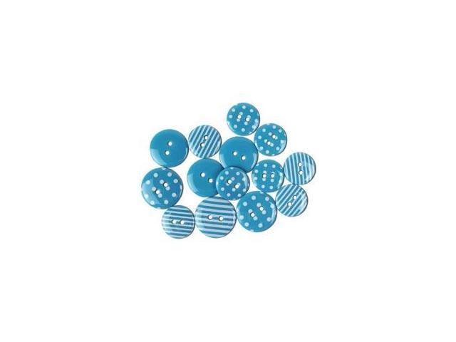 Favorite Findings Buttons-Dots & Stripes; Turquoise & White 14/Pkg