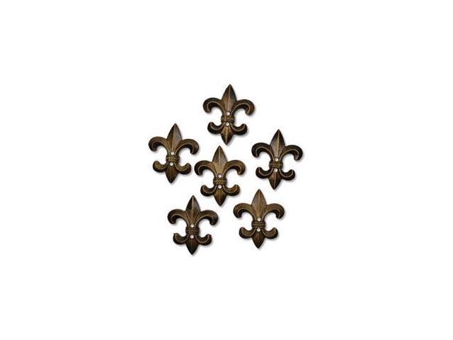 Favorite Findings Buttons-Fleur De Lis Antique Gold 6/Pkg