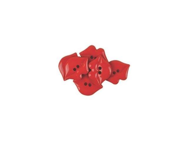 Favorite Findings Buttons-Kiss Me Red 6/Pkg