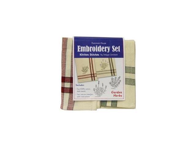 Garden Herbs Kitchen Stitches Embroidery Set-Cream W/Red & Cream W/Green Side Stripes