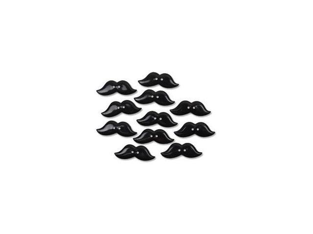 Favorite Findings Buttons-Mustache Lovers Black 10/Pkg