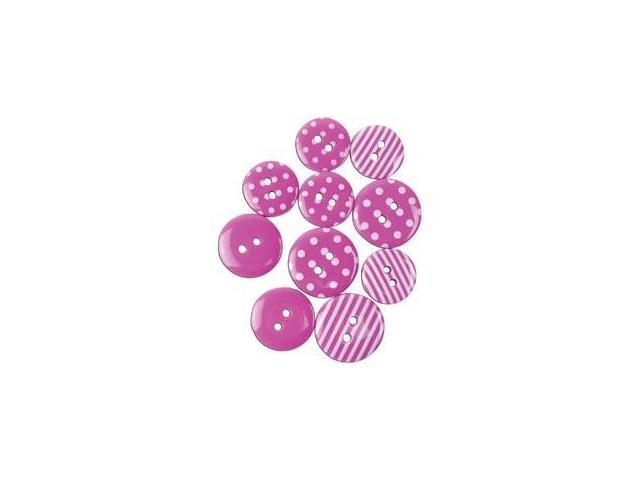 Favorite Findings Buttons-Dots & Stripes; Pink & White 14/Pkg