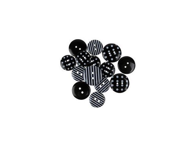 Favorite Findings Buttons-Dots & Stripes; Black & White 14/Pkg