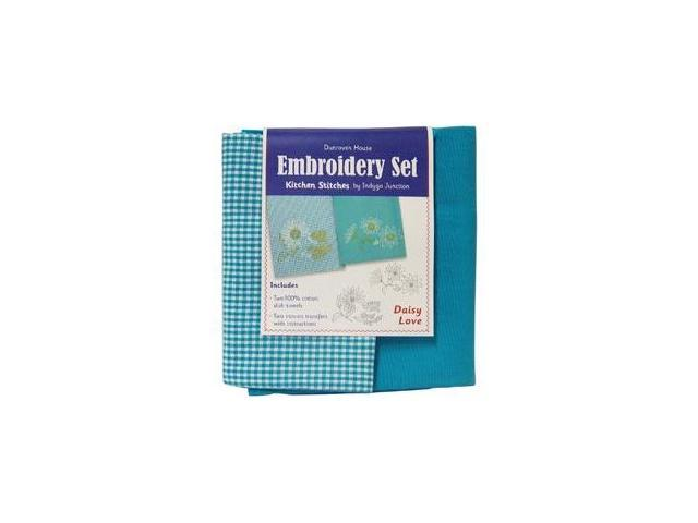 Daisy Love Kitchen Stitches Embroidery Set-Solid Turquoise & Turquoise/White Check