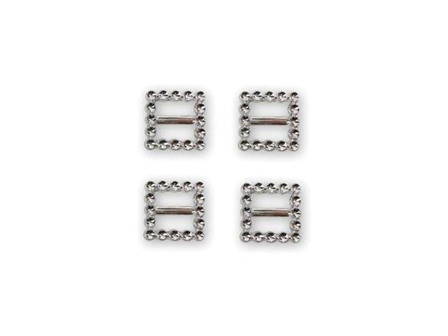Favorite Findings Buttons-Square Slide Silver 4/Pkg
