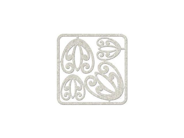 Die-Cut Grey Chipboard Embellishments-Retro Corners; 5
