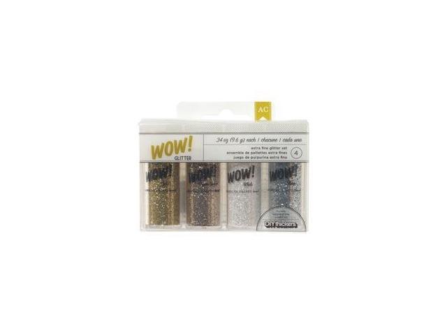 DIY Shop WOW! Extra Fine Glitter .34oz 4/Pkg-Silver; Gold; Brown Sugar & White