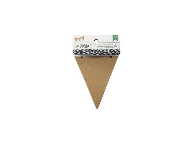 DIY Shop Banner 24pcs W/String-Kraft Pennant; 3.5