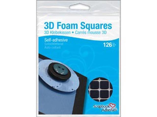 3D Permanent Foam Squares 126/Pkg-Black .5