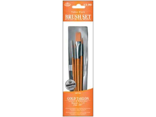 Brush Set Value Pack Gold Taklon 4/Pkg-Round 1,3,5 & Flat 5/8