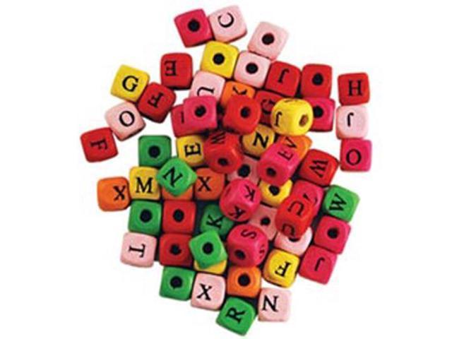 Wood Alphabet Beads 10mm 60/Pkg-Assorted Colors