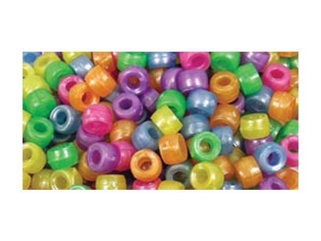 Mini Barrel Pony Beads 6mmX4mm 300/Pkg-Pearlized Multicolor