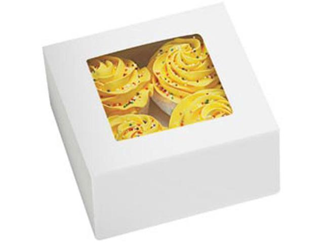 Cupcake Boxes-4 Cavity White 3/Pkg