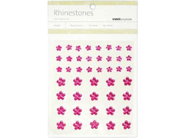 Self-Adhesive Flower Rhinestones 44/Pkg-Hot Pink