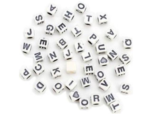 Alphabet Beads 6mm 160/Pkg-6mm Black/White